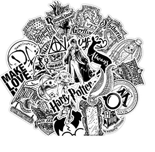 ⭐Top Aufkleber! ⭐ Set von 31 Harry Potter Black and White Aufkleber Top Qualität - Vinyls Stickers Nicht Vulgär - Fashion, Bombe, Graffiti - Anpassung Laptop, Gepäck, Moto, Fahrrad, Skate -