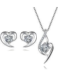 1e5cb036990a Herz Schmuckset Silber 925 Damen Kette und Ohrringe Set mit Swarovski  Elements Zirkonia Stein Für Fraun