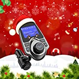 VicTsing Bluetooth FM Transmitter, Wireless In-Car Radio Adapter Hand-free Talking Car Kit with USB Car Charger AUX Input 1.44 Inch Display TF Card Slot for Apple iPhone iPod iPad Samsung Huawei Android LG HTC Nexus Smartphone etc.- Grey