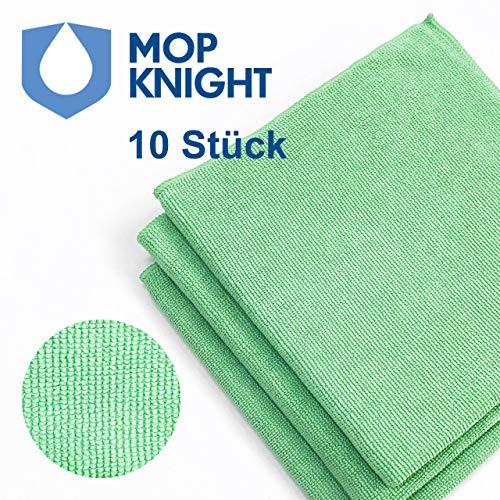 Mop Knight | 10 Stück Premium Mikrofaser-Tücher mit extremer Saugfähigkeit für Haushalt & Küche | Fusselfreie Hochleistungstücher zur Reinigung und Pflege, 40x40cm, grün