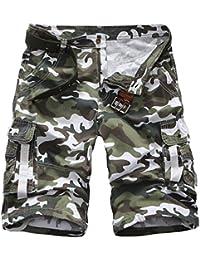 Highdas Pantalones Cortos de Camuflaje de Carga para Hombres Pantalones  Cortos de Verano de Carga Pantalones Cortos de Hip Hop de Camo… 25900af72e2