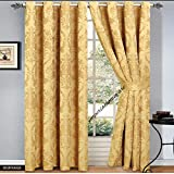 """JACQUARD CURTAINS,RING TOP, FULLY LINED EYELET,READY MADE+TIEBACK FREE P&P DEALS (RUBY GOLD, 90""""x""""90"""")"""