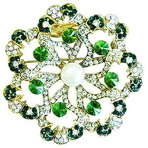 Brosche mit geschwungenem Design, Smaragd und Perle