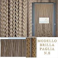 Türvorhänge Modell BRILLA – Aluminiumträger - Made in Italy – Fliegenvorhang - STARK UND HALTBAR (90X200, Elfenbein 08)