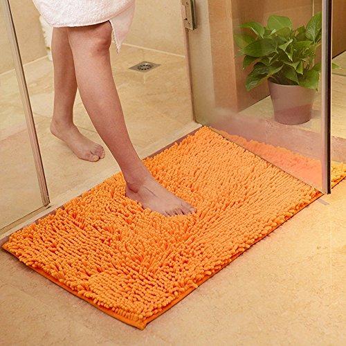 ele ELEOPTION Mikrofaser-Teppich mit weichem Flor, für Küche und Bad, saugfähige Anti-Rutsch-Matte, Orange, 50 x 80 cm