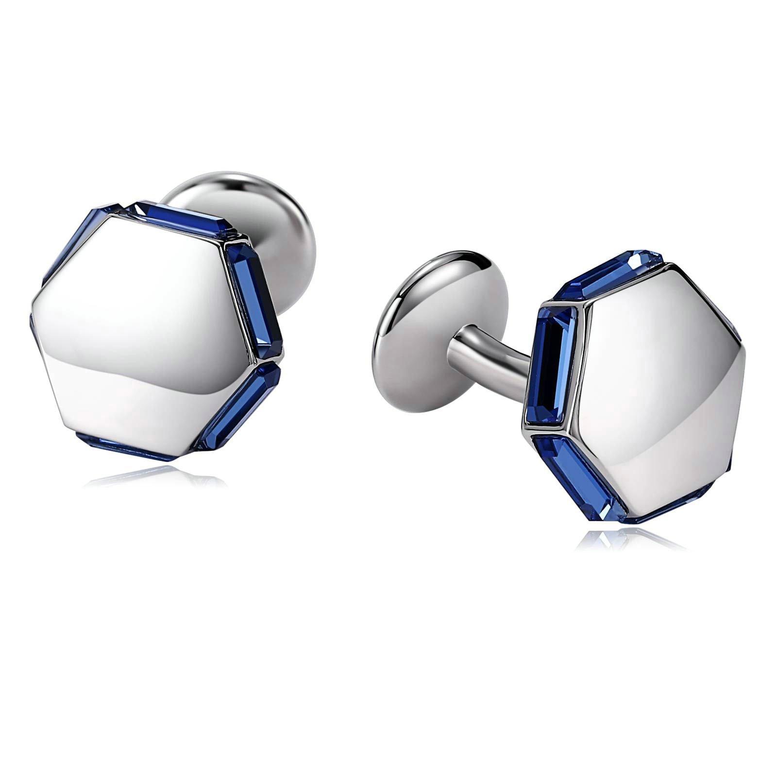 Blisfille 1 Pair Cufflinks Swarovski Crystals Cufflinks Studs Set Hexagon Cubic