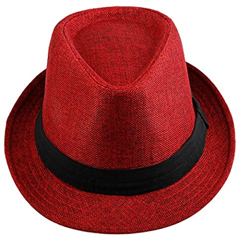 Shanxing Fedora Hats for Men Trilby Hat Panama Style Summer Beach Sun Jazz Cap,Red