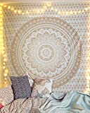 raajsee Exclusive Handmade Original Gold Ombre Tapestry by, Boho Bohemian Tapestry Wall Hanging Tapestry,Dorm Decor Tapestry,Hippie Bedspread Tapestry 140 * 220cms