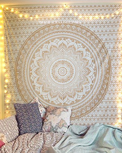 "Exclusive Handmade Original Gold Ombre Tapestry By ""RaaJsee"",Boho Bohe"