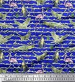 Soimoi Blau Poly Georgette Stoff Vogel & Krokodil Aquarell