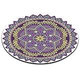 LB Indien,Mandala Buddhismus Blume,lila,weiß_Rund Fläche Teppich Wohnzimmer Schlafzimmer Badezimmer Küche Bodenmatte Inneneinrichtung,120x120 cm