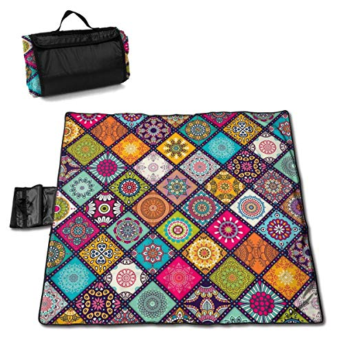 """Mandala Tiles Floor Texture Folding Portable Picnic Blanket 57"""""""" x59 Outdoor Water Resistant Sand Proof Picnic Blanket Mat with Tote Bag for Travel Picnic Hiking"""