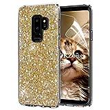 OKZone Galaxy S9 Plus Hülle, Luxus Glitzer Bling Design Weich TPU Bumper Case Silikon Schutzhülle Handy Tasche Rückseite Hülle Etui Cover TPU Bumper Schale für Samsung Galaxy S9 Plus (Gold)