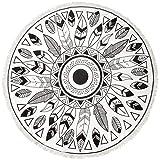 CASPAR STT001 XL Toalla de Playa Redonda Mandala / Toalla de Rizo para Piscina o Sauna - Varios Estampados , Color:PLUMAS negro / blanco;Tamaño:Talla Única
