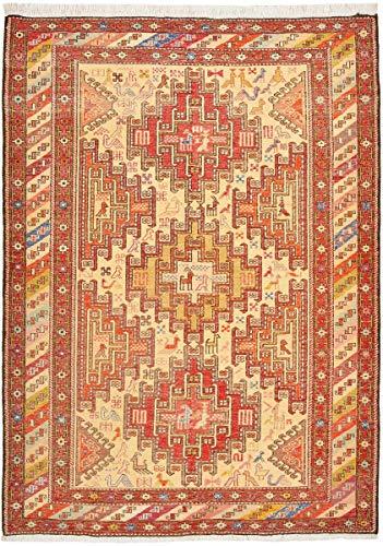 Nain Trading Kelim Soumak Seide 139x104 Orientteppich Teppich Orange/Rosa Handgeknüpft Indien -