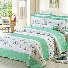alicemall colchas para cama algodn colcha patchwork estampado hoja blanco y verde edredn de