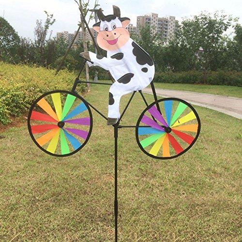 Yunso Windmühle UV-Schutz & Wasserdicht Windrad 3D Tier Auf dem Fahrrad Windspiel Garten BalkonTerrasse Dekoration (Kuh)