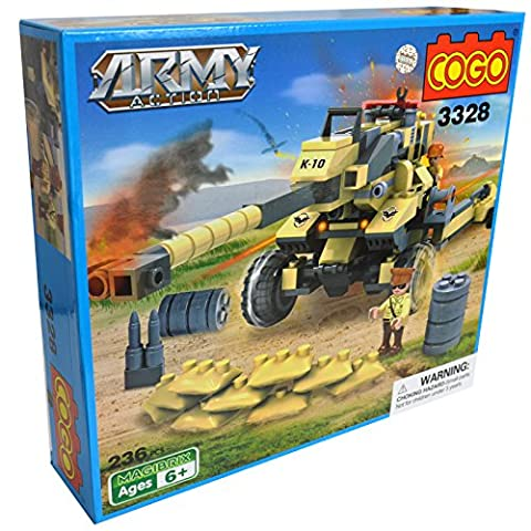 COGO - Toy Tactical Ground War Tank Artillery Cannon Gun Army Solider Missile Set Building Construction Brick Set