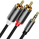 deleyCON 1,5m Jack naar Cinch RCA-Kabel 3,5mm Audiokabel Omzetter Kabel Mobiele Telefoon en Smartphone aan HiFi-Ontvanger 3,5