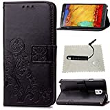 Schutzhülle für Samsung Galaxy Note 3 Leder Klee Impressum,TOCASO Glatt Thin Schwarz PU Leder Handyhülle Tasche Flip Cover Wallet Case Blumen Pattern Hülle für Samsung Galaxy Note 3 Bookstyle Folio Protective Carrying Handycover Schutz Cases Etui Lederhülle Handytasche mit Magnetic Closure Stand Credit Card Holder Pouch Soft Silikon Backcover Rückseite Shell Schale Ledertasche mit Schwarz Stylus Pen für Samsung Galaxy Note 3