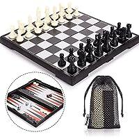 Peradix Echecs Dames Backgammon Pliant de Voyage des Chiffres Jeu de Tactique Éducation Conseil Jeu Enfants Adultes Plastique