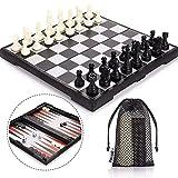 Peradix Schachspiel & Damespiel & Backgammon 3-in-1 Schach Magnetischem Faltbarem mit Aufbewahrungsbeutel Deluxe Schachbrett Groß (30.5*30.5cm Schwarz 3 in 1)
