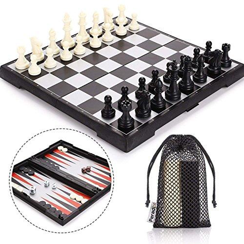 Peradix 3 en 1 Ajedrez Magnetico Plegable Set-Ajedrez Damas Backgammon para niños y Adulto Juego de Ajedrez 30.5*30.5cm
