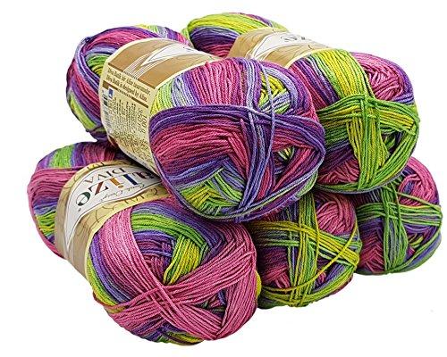 ALIZE 5 x 100 Gramm Diva Batik Wolle Mehrfarbig mit Farbverlauf, 500 Gramm merzerisierte Strickwolle Microfiber-Acryl (Pink Beere Grün Gelb 3241)
