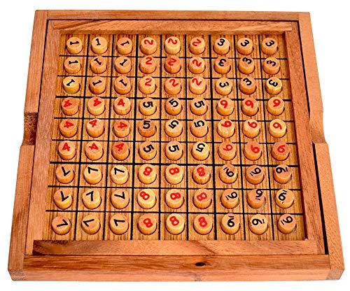 Sudoku Board 9x9 mit Natur Stiften aus Holz und aufgedruckten Zahlen in 2 Farben, strategisches Knobelspiel, Knobelholz Sudoku Brett, Strategiespiel für eine Person, Sudoku Holzspiel