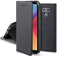 Moozy Funda LG G6 Negro - Flip cover Smart magnética Stand plegable y soporte de silicona