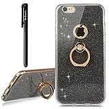 BtDuck Handyhülle iPhone 6 Plus/iPhone 6S Plus Schwarz Slim Matt Dünn Silikon Hülle mit Metall Ring Handyhalterung Auto Magnet Ständer Bumper Case Schutzhülle Smartphone Halter Ständer Ringhalter