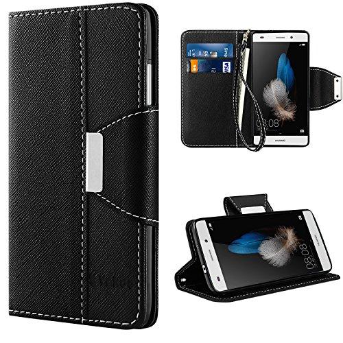 Huawei p8 lite custodia - vakoo huawei p8 lite cover flip a portafoglio in pelle sintetica premium protettiva custodia per huawei p8 lite 2015 (nero)