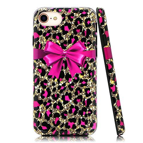 lartin Weicher Flexibler Jellybean Gel TPU Fall für iPhone 8/iPhone 7/iPhone/6S/iPhone 6, Pink Cheetah Print and Bowknot (I Phone 6 Fällen Cheetah)