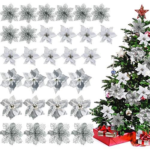 Willbond 30 pezzi natale poinsettia fiore decorazione artificiale fiore di natale per albero di natale corone ornamenti da sposa, 5 stili (argento)