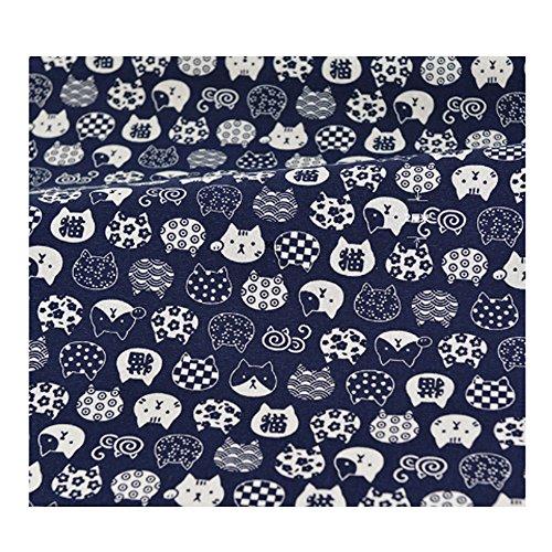 anischer Stil Stoff Tuch zum Nähen Mehrzweck-Stoff Lucky Cat Pattern (Black Cat Kostüme Diy)