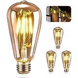ASANMU Ampoule LED Edison, Ampoule LED E27 Vintage Lampe Décorative Rétro Edison Ampoule Antique Lampe ST64 4W LED Filament B