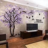 Colorfulworld Giant Tree Wandaufkleber Wall Stickers 3D Baum Wandaufkleber Art Home Decals for Room Decoration DIY Wall Sticker (Lila, Recht, XL)