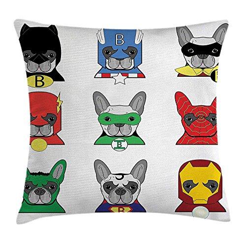 DDOBY Superheld Wurfkissen Kissenbezug, Bulldogge Superhelden Spaß Cartoon Welpen in Verkleidung Kostüm Hunde mit Masken drucken, dekorative quadratische Akzent Kissenbezug, Multicolor