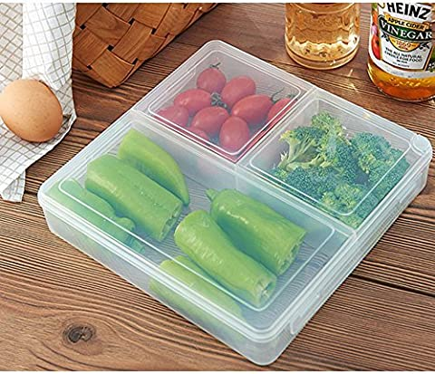 Efanr Microwave Refrigerator Food Storage Box Plastic Lunch Box Sub-grid Rectangle Transparent Food Container Microwave Sealed Kitchen Box for Outdoor Travel