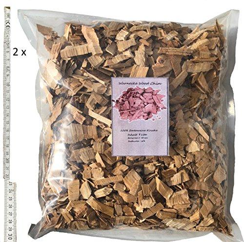 Brennholz Handel Warnecke Wood Chips Kirsche Cherry Wood 1,5 kg- 2 x 4 Liter Räucherchips für Grill und Smoker BBQ