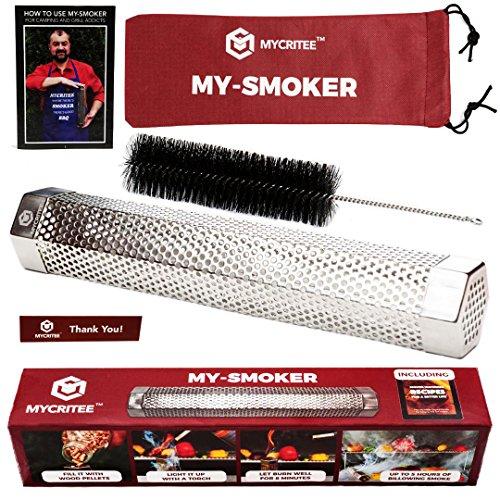 Sechskant Pellet Smoker Tube | Premium Edelstahl 30,5cm Smoke Generator für heiße und kalte Rauchen + Reinigungsbürste + Ebook mit Tipps für tolle Grillen und Räuchern mycritee (Box Springs, Nur)
