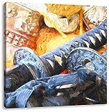 edle Samurai-Schwerter Kunst Pinsel Effekt, Format: 60x60 auf Leinwand, XXL riesige Bilder fertig gerahmt mit Keilrahmen, Kunstdruck auf Wandbild mit Rahmen, günstiger als Gemälde oder Ölbild, kein Poster oder Plakat