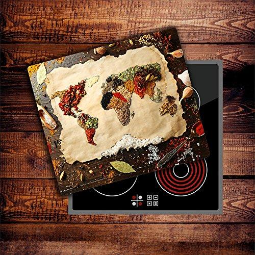 CTC-Trade | Herdabdeckplatten 60x52 cm Ceranfeld Abdeckung Glas Spritzschutz Abdeckplatte Glasplatte Herd Ceranfeldabdeckung Küche Gewürze