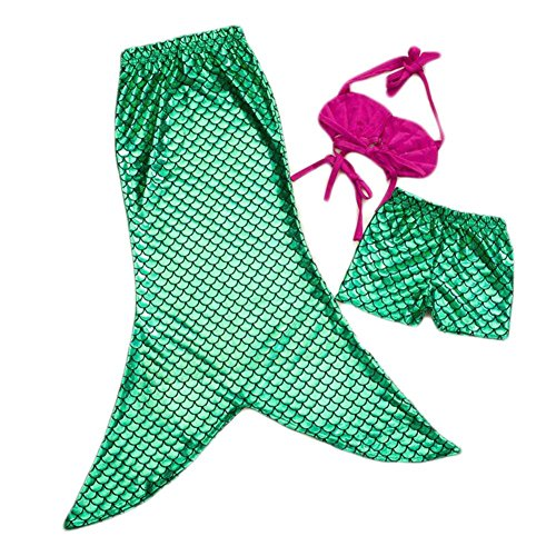 Highdas Little Girls 3 pezzi principessa Mermaid Tail balneabile bikini Swimwear 140CM