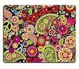 luxlady Gaming Mousepad Bild-ID: 38741740Hippie Tapete mit farbigen Spring Blumen und Paisley