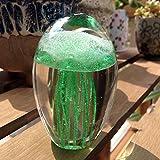 Farbige handgemachte Glühen Glas Qualle Briefbeschwerer Aquarium Kristall Kunst Handwerk Sammlerstück (Grün)