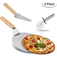 Weeygo   Pala di trasferimento in Acciaio Inox con Manico in Legno  per cuocere Pizza e Torte su Forno e Grill  3 Pezzi  Colore  Argento