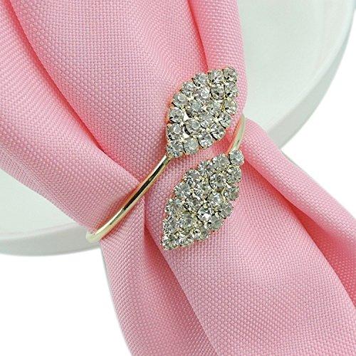 10Serviettenringe Ring Gold Steine Stahlkabel für Hochzeit Kommunion Dekoration Weihnachten Partys Events von Open Buy