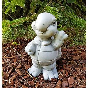 Gartenfigur winkende Schildkröte Josie frostfest Deko für außen Garten Balkon Terassen Hochbeete Balkonkasten Steinfigur