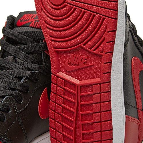 Nike Air Jordan 1 Retro High Og, espadrilles de basket-ball homme Noir (Black / Varsity Red-White)